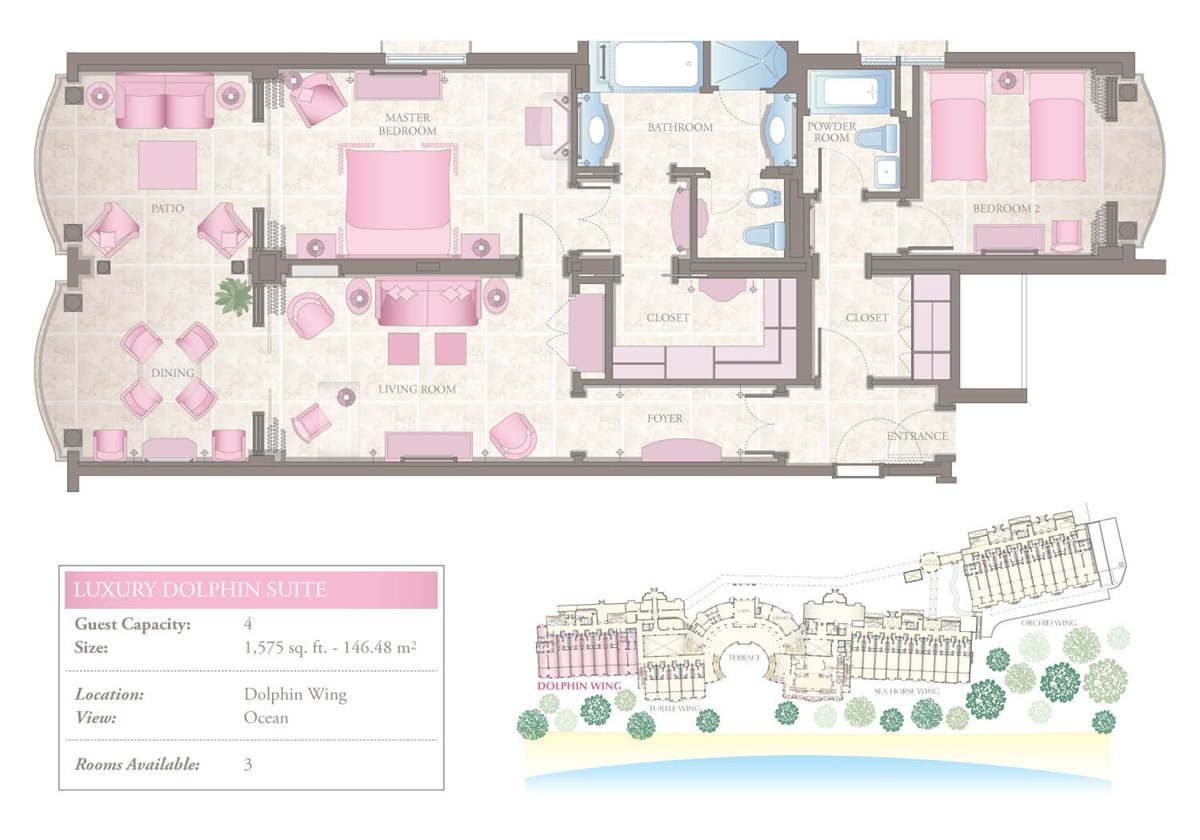 Luxury Two-Bedroom Dolphin Suite Floorplan