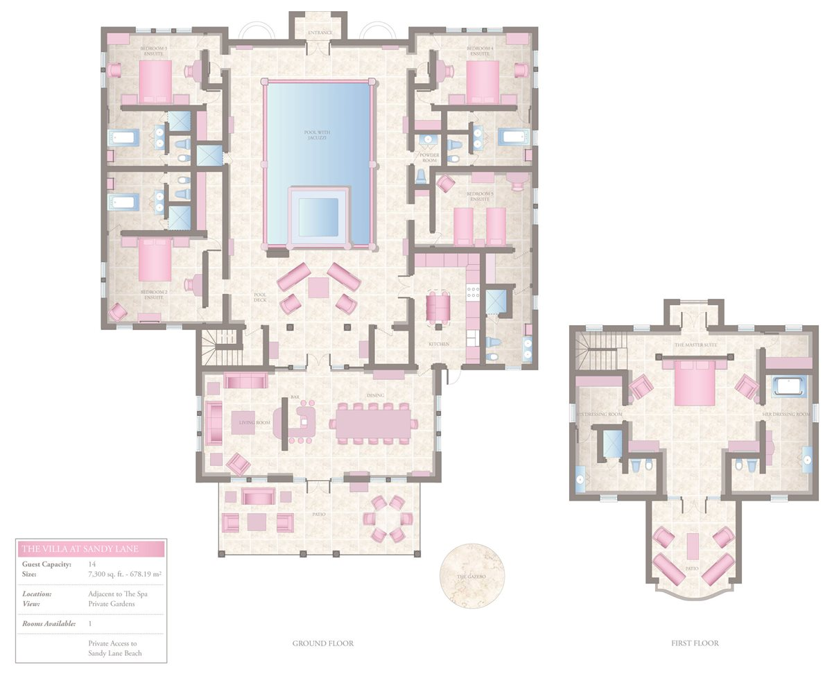 Five-Bedroom Villa at Sandy Lane Floorplan