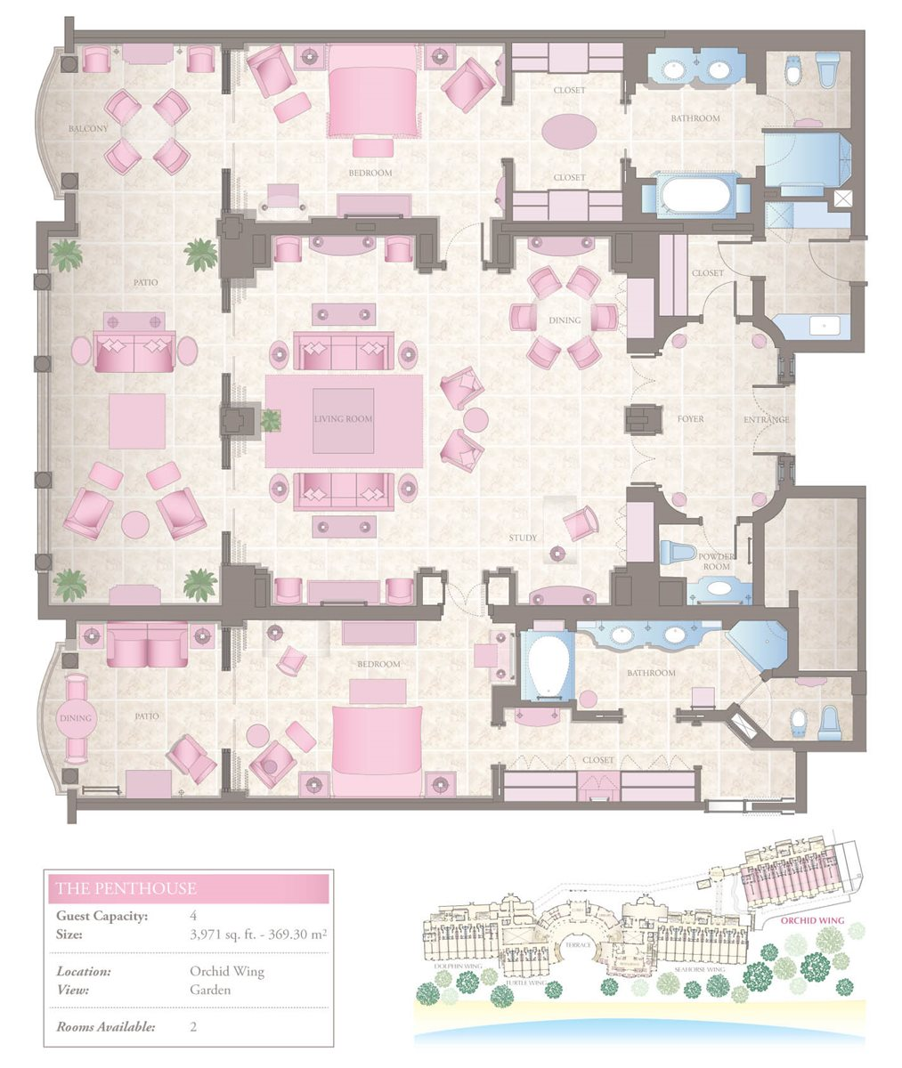 Luxury Two-Bedroom Penthouse Floorplan