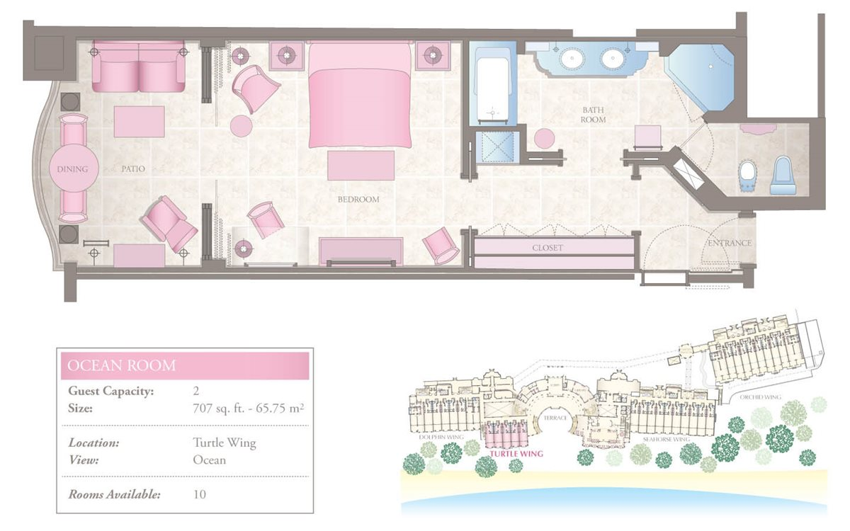 Oceanfront One-Bedroom Floorplan